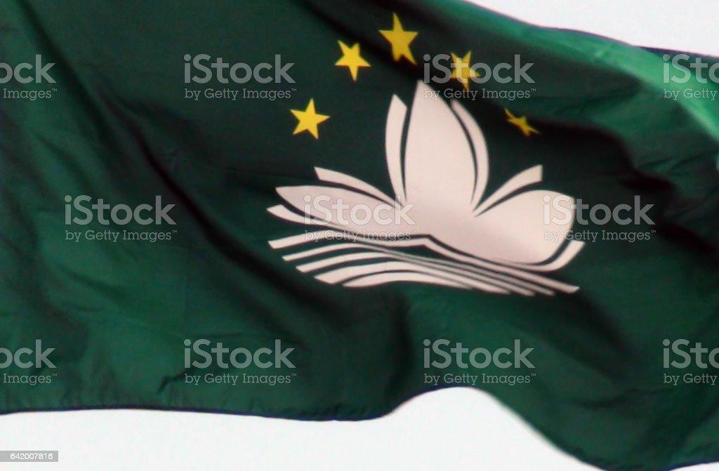 Flag Of Macau Close Up View In Macau China Asia stock photo