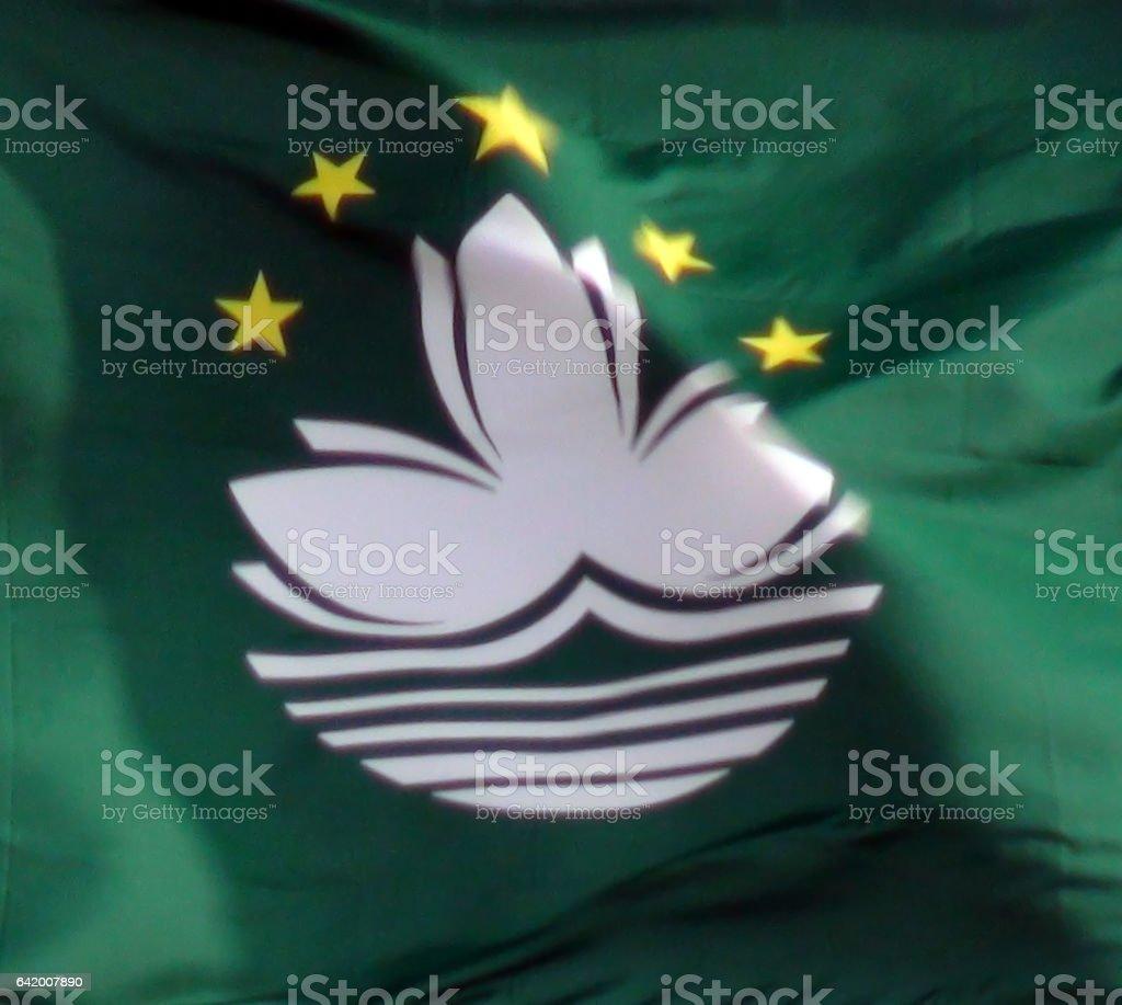 Flag Of Macau Close Up View In Macau China stock photo