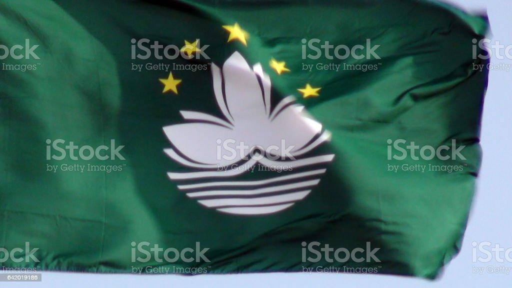 Flag Of Macau Close Up View In Macau China.East Asia stock photo