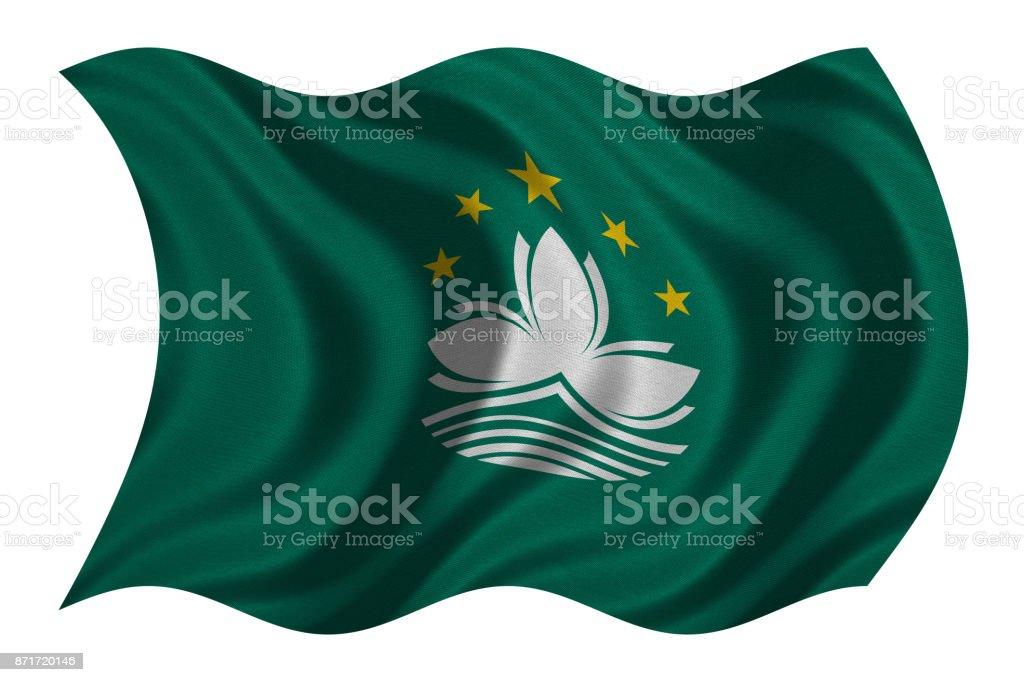 Flag of Macau wavy on white, fabric texture stock photo