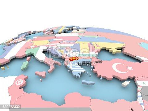 istock Flag of Macedonia on bright globe 859472332