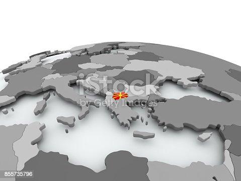 istock Flag of Macedonia on globe 855735796