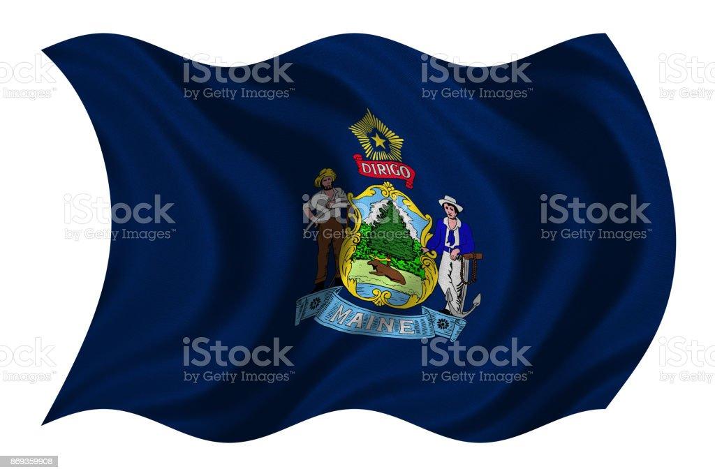Flag of Maine wavy on white, fabric texture stock photo