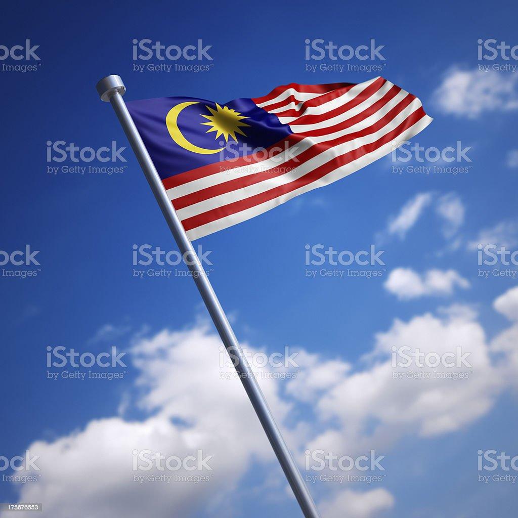 Bandeira da Malásia contra o céu azul - foto de acervo