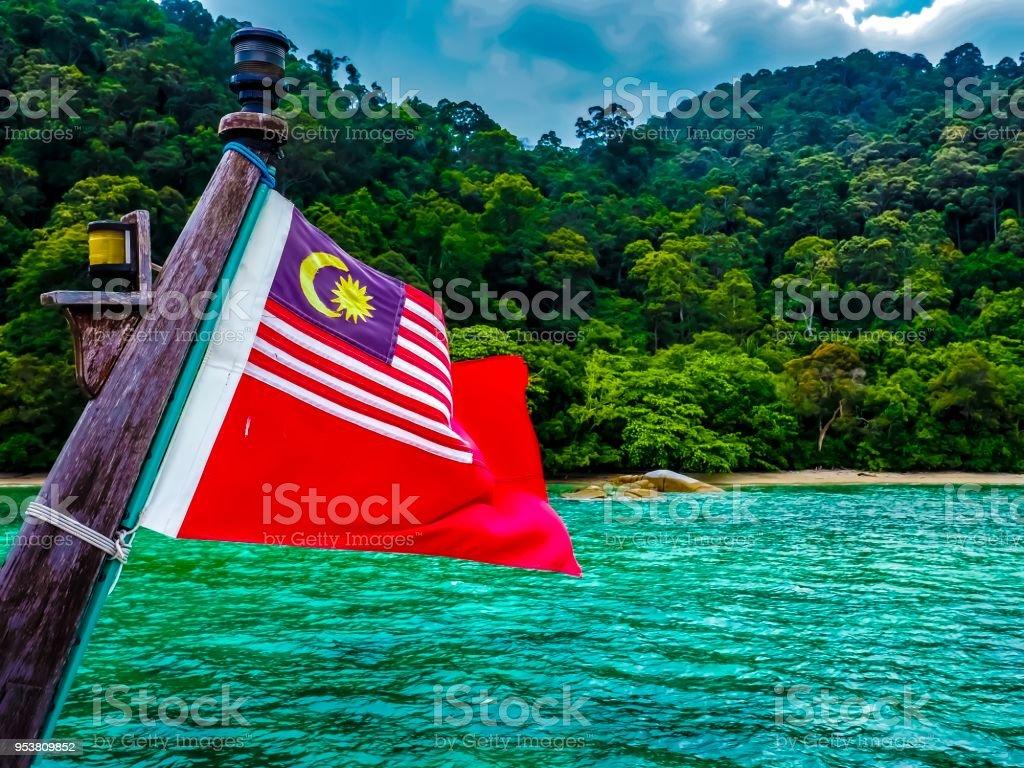 Bandeira da Malásia, conhecida como Jalur Gemilang - foto de acervo