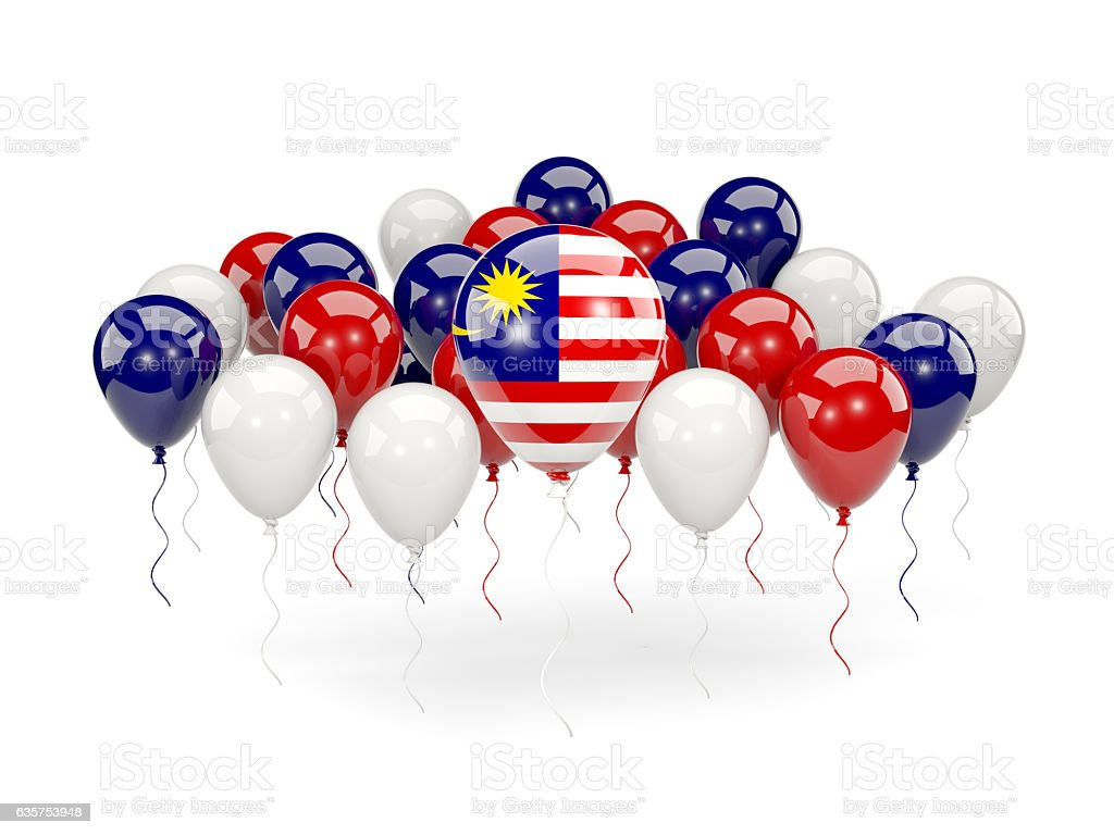 Flag of malaysia with balloons - foto de acervo