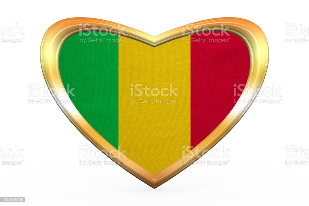 Bandeira do Mali no frame de forma, dourado de coração - foto de acervo