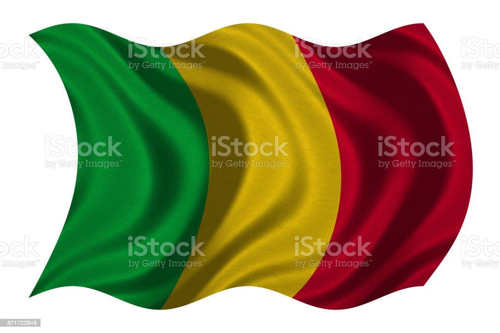 Bandeira do Mali ondulado na textura de tecido branco, - foto de acervo