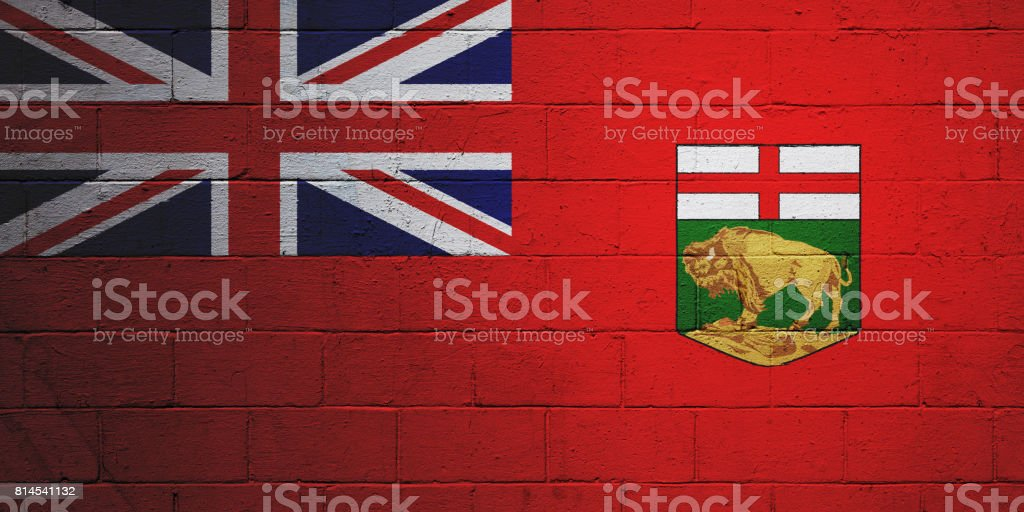 Flag of Manitoba painted on a wall stock photo