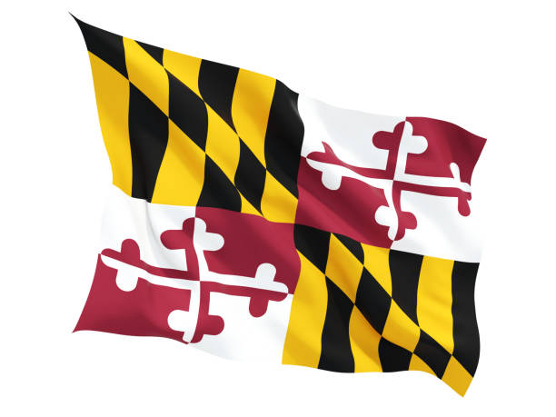 Flag of maryland, US state fluttering flag Flag of maryland, US state fluttering flag isolated on white. 3D illustration maryland us state stock pictures, royalty-free photos & images