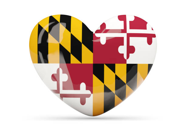 Flag of maryland, US state heart icon Flag of maryland, US state heart icon isolated on white. 3D illustration maryland us state stock pictures, royalty-free photos & images