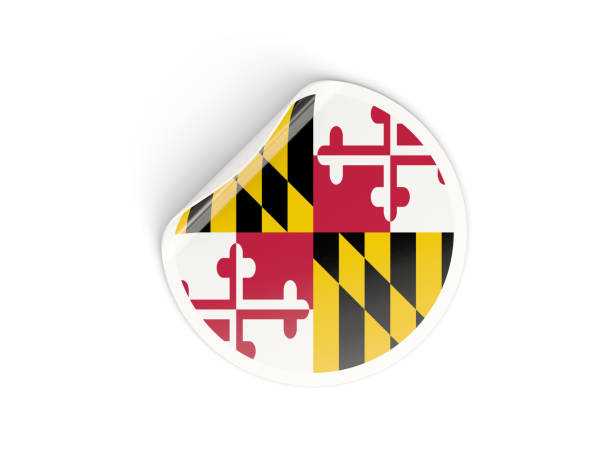 Flag of maryland, US state round sticker Flag of maryland, US state round sticker isolated on white. 3D illustration maryland us state stock pictures, royalty-free photos & images