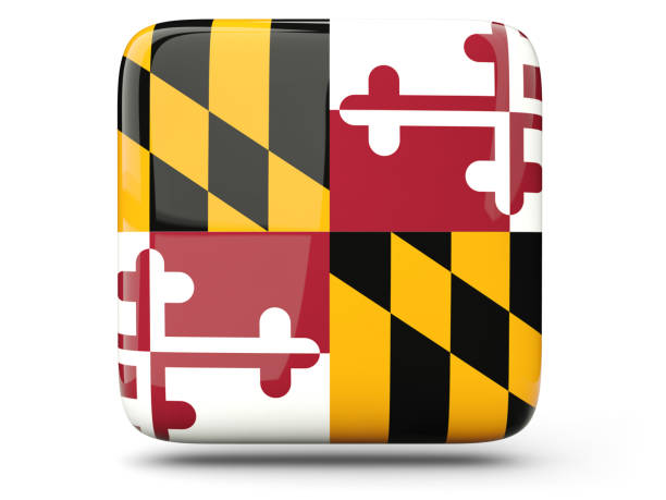 Flag of maryland, US state square icon Flag of maryland, US states square  icon isolated on white. 3D illustration maryland us state stock pictures, royalty-free photos & images