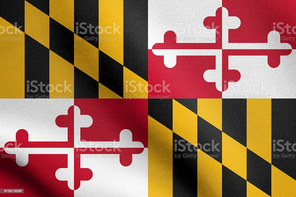 Flag of Maryland waving with fabric texture stock photo