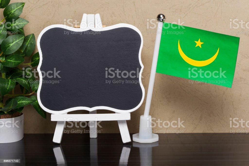 Flag of Mauritania and Blackboard stock photo
