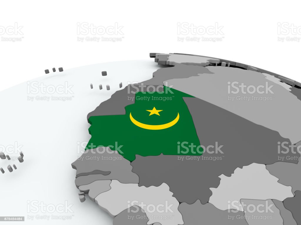 Flag of Mauritania on globe stock photo