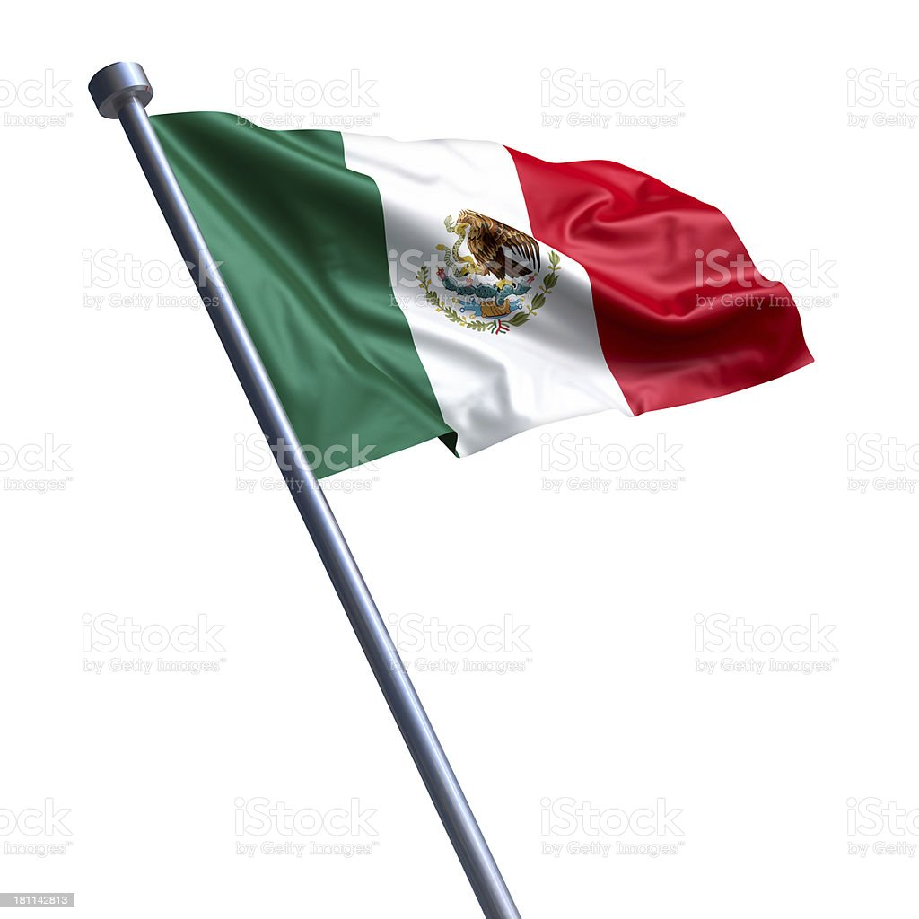 Flag of Mexico isolated on white stock photo