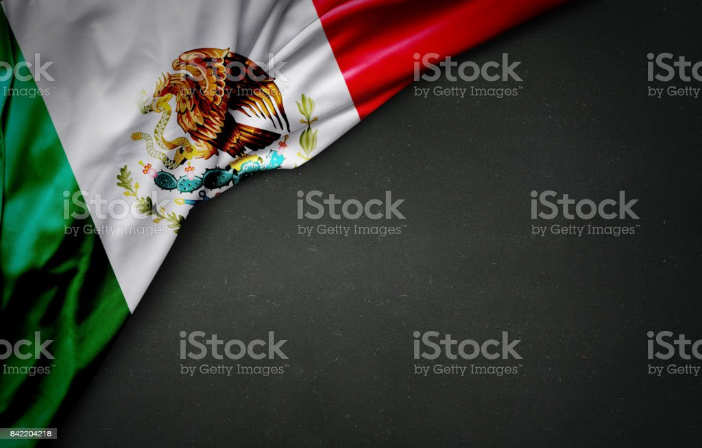 flag of Mexico on blackboard stock photo