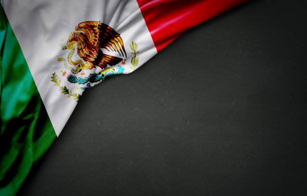 flag of mexico on blackboard - mexico stock photos and pictures