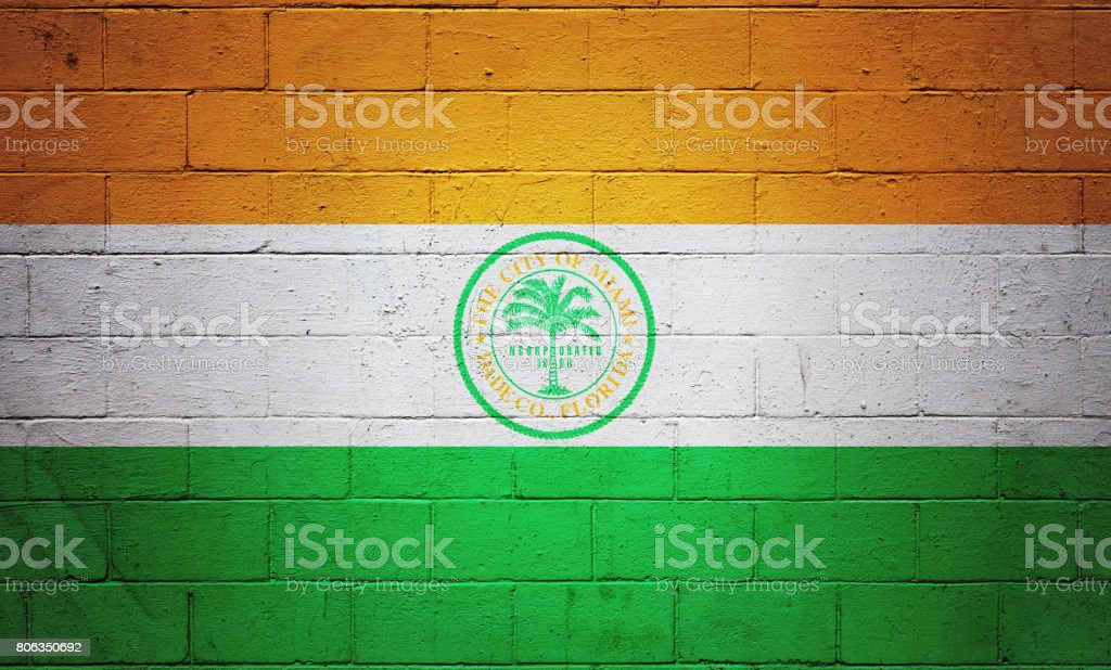 Flag of Miami painted on a wall stock photo