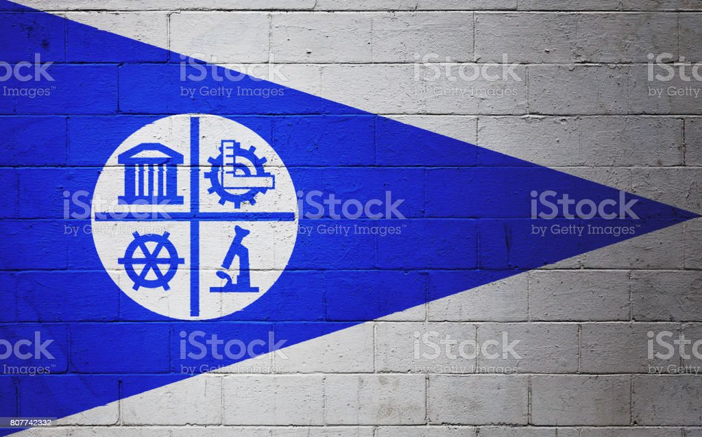 Flag of Minneapolis painted on a wall stock photo