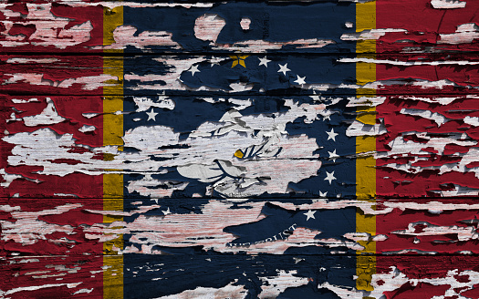 Flag Of Mississippi Painted On A Grunge Plank Stock Photo - Download Image Now