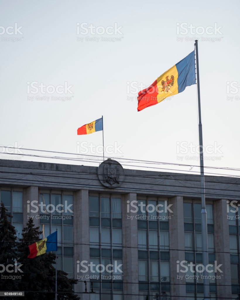 Flag of Moldova outside Government House in Chisinau stock photo
