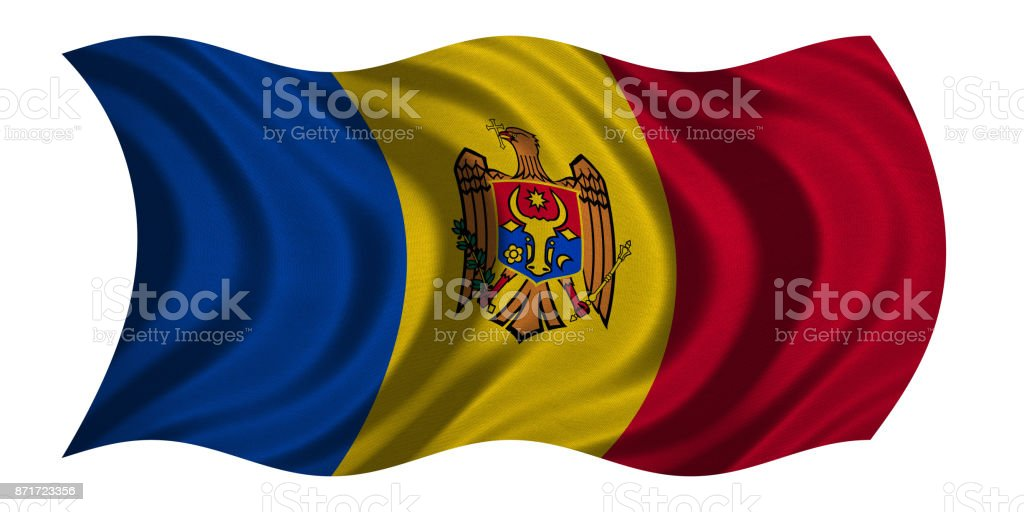 Flag of Moldova wavy on white, fabric texture stock photo