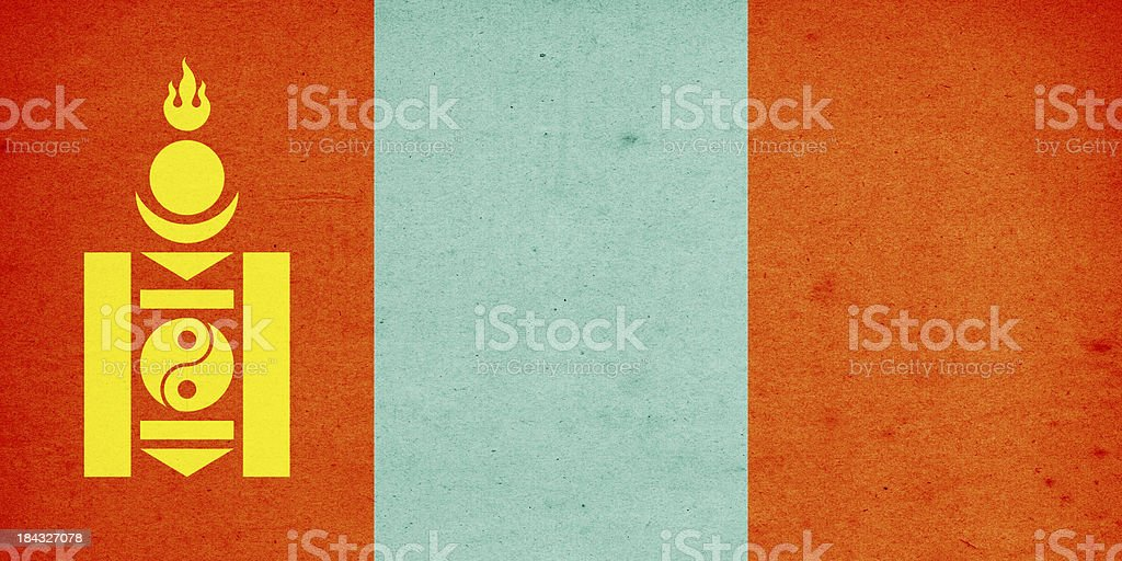 Flag of Mongolia Close-Up (High Resolution Image) royalty-free stock photo