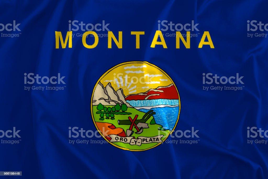 Bandeira de fundo de Montana, o estado do tesouro, Big Sky Country - foto de acervo