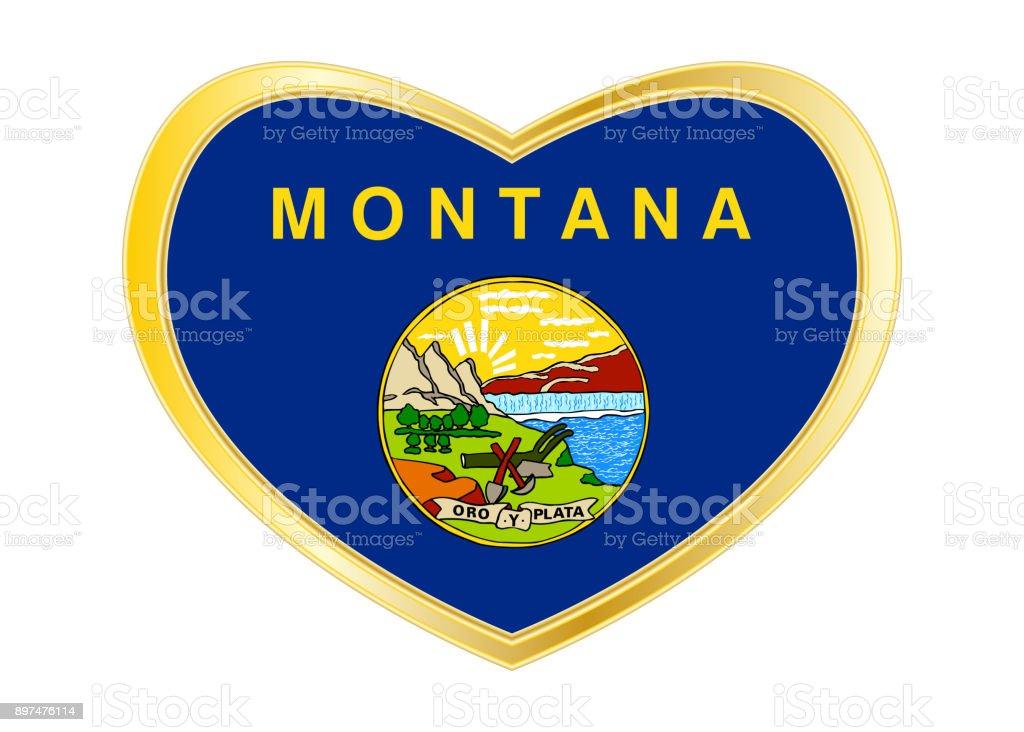 Bandeira da Montana no frame de forma, dourado de coração - foto de acervo