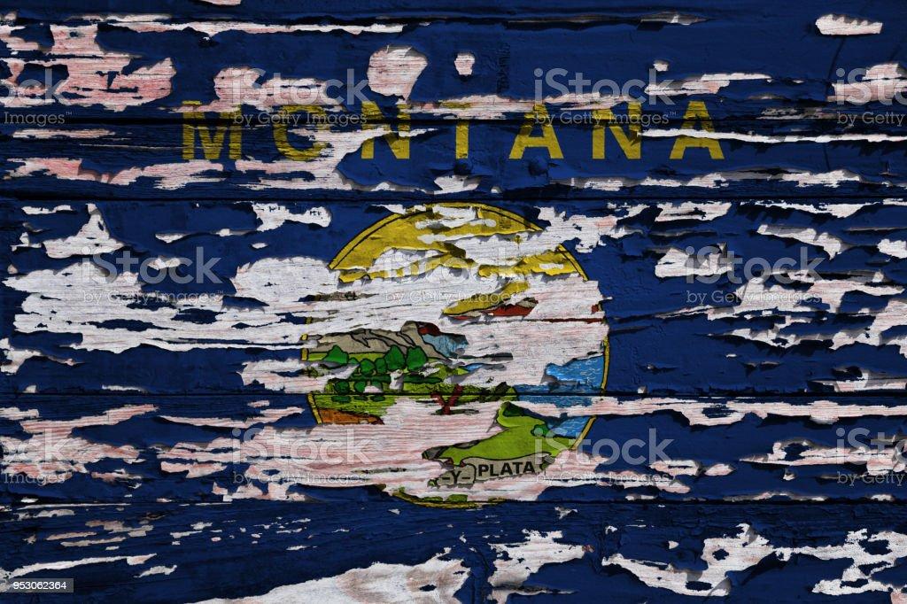 Bandeira da Montana pintado numa prancha de grunge - foto de acervo