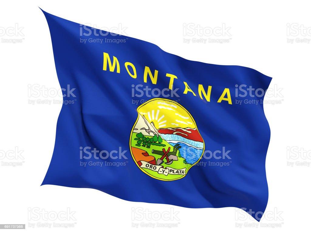 Bandeira de montana, estado dos Estados Unidos tremulando bandeira - foto de acervo