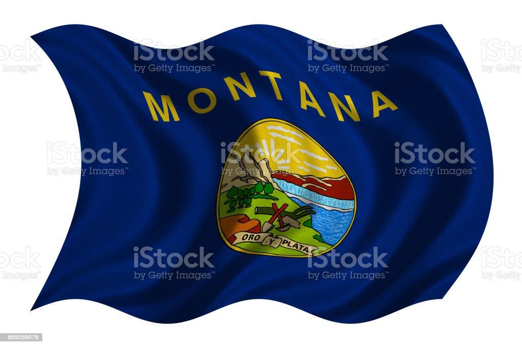 Bandeira da Montana ondulado na textura de tecido branco, - foto de acervo