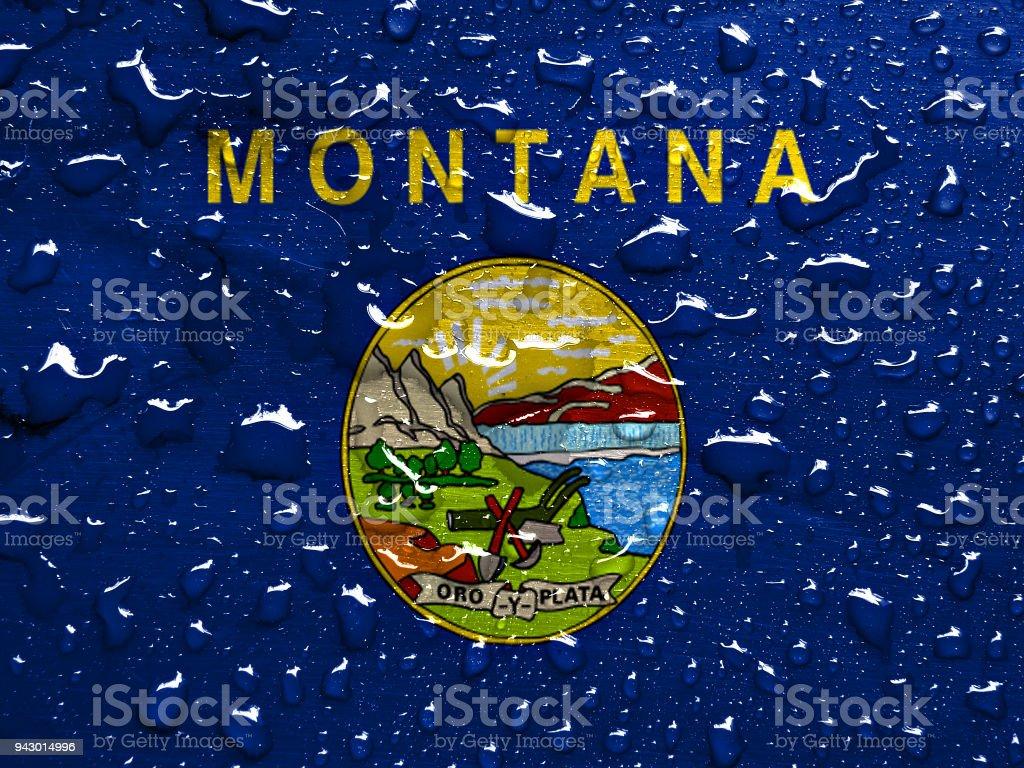 Bandeira da Montana com a chuva cai - foto de acervo