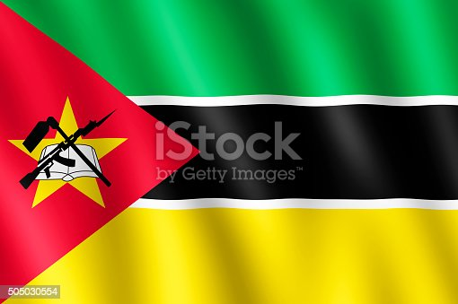 istock Flag of Mozambique waving in the wind 505030554