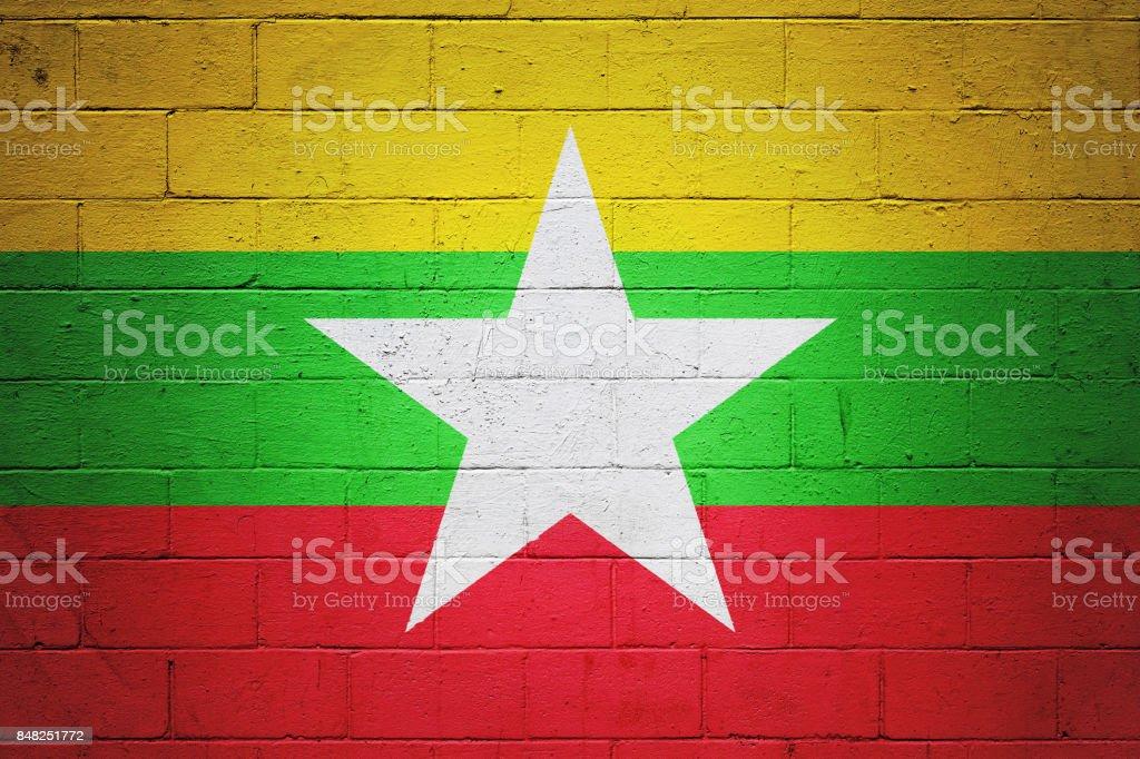 Drapeau du Myanmar peint sur un mur - Photo