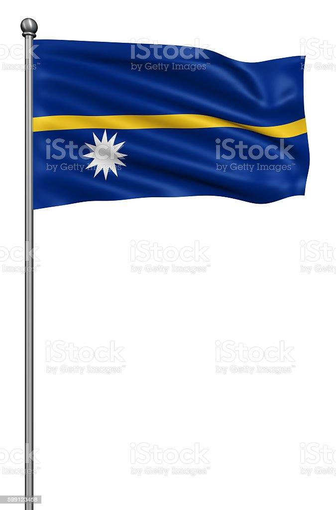 Flag of Nauru against white background. stock photo