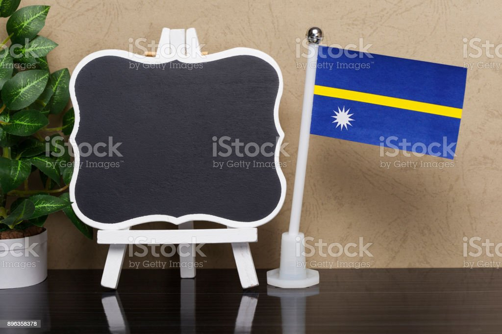 Flag of Nauru and Blackboard stock photo