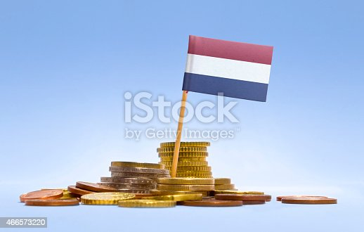 istock Flag of Netherlands in a stack of coins.(series) 466573220