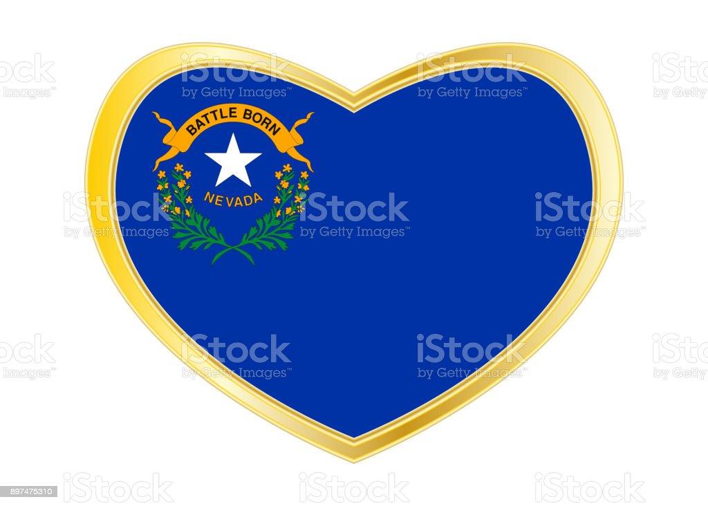 Bandeira de Nevada no frame de forma, dourado de coração - foto de acervo