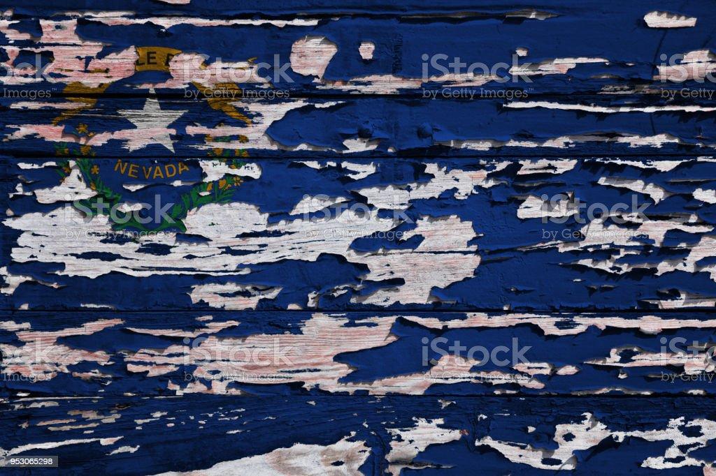 Bandeira de Nevada pintada numa prancha de grunge - foto de acervo