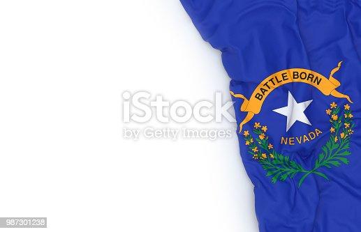 Nevada state flag on white board