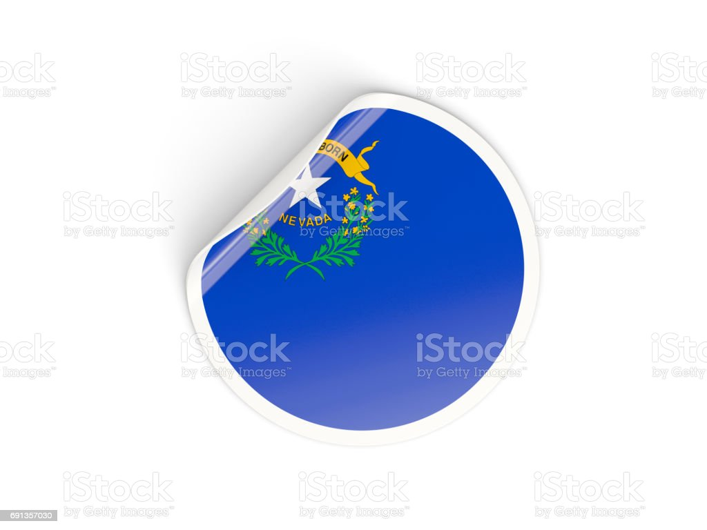 Bandeira de nevada, nos estado redondo da etiqueta - foto de acervo