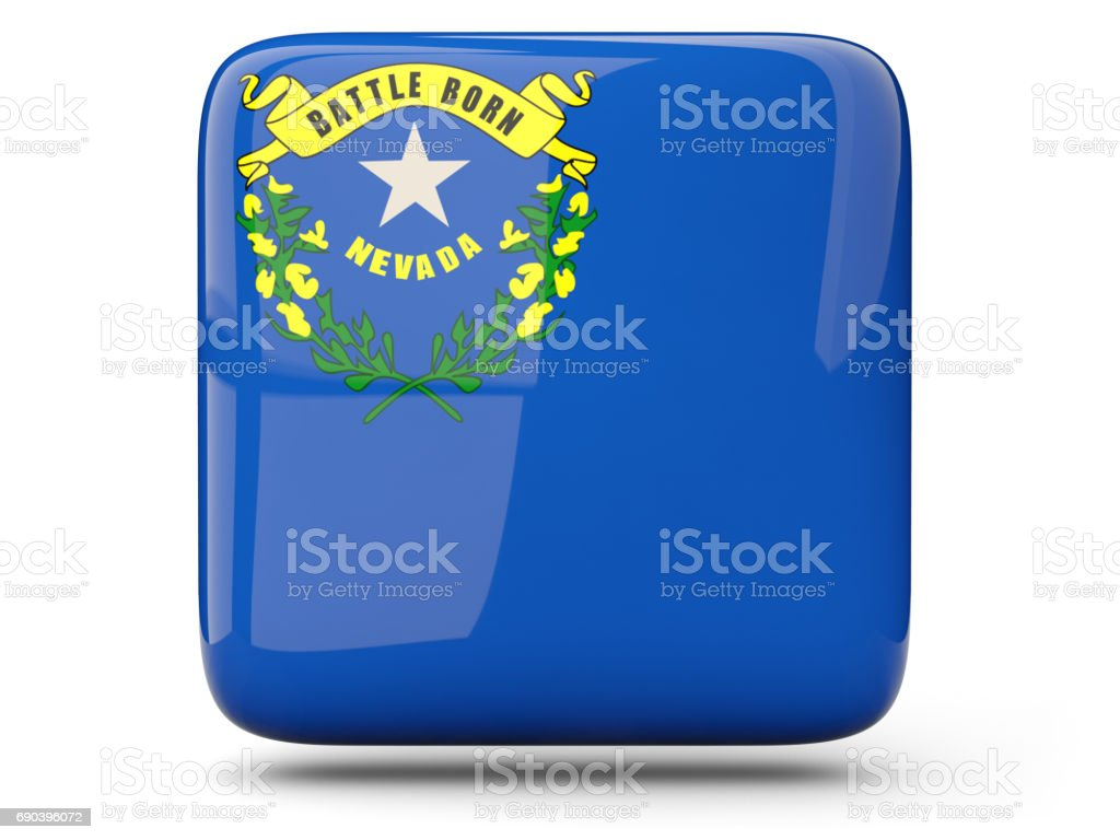 Flag of nevada, US state square icon stock photo