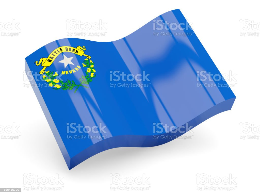 Flag of nevada, US state wave icon stock photo