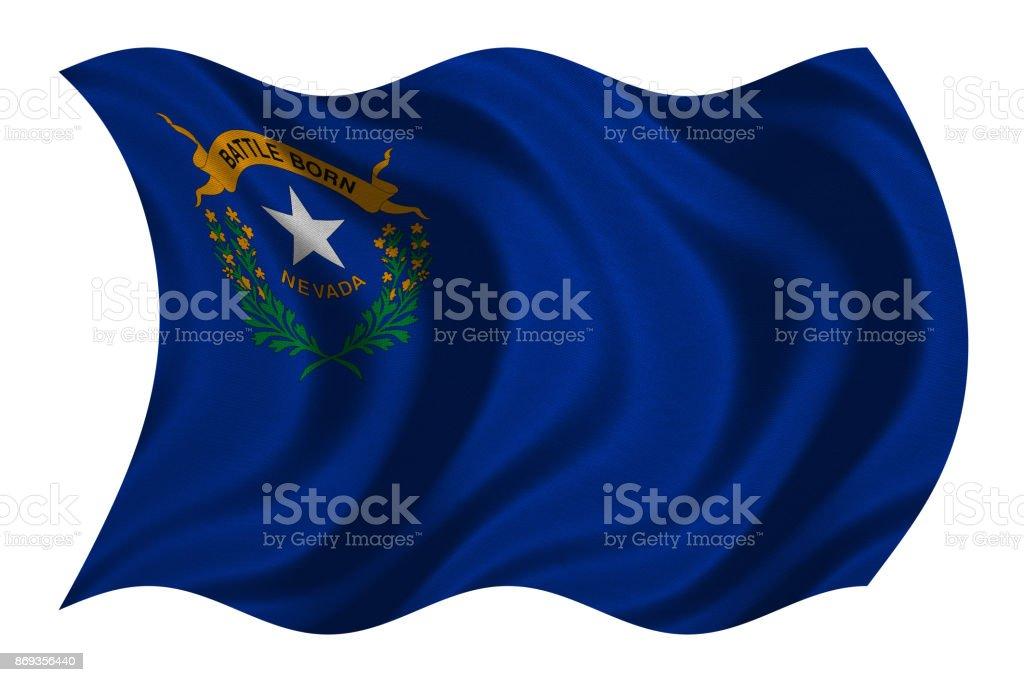 Bandeira de Nevada ondulado na textura de tecido branco, - foto de acervo