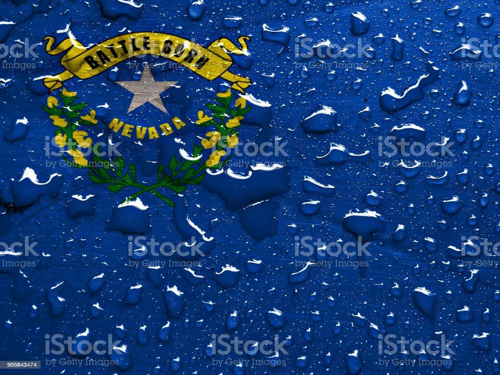 Bandeira de Nevada com chuva cai - foto de acervo