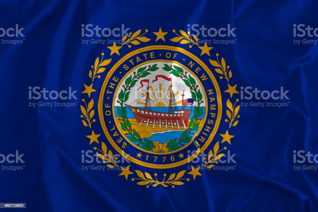 Bandeira de fundo de New Hampshire, o estado de granito, o estado da montanha branca - foto de acervo