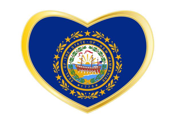 Bandeira de New Hampshire no frame de forma, dourado de coração - foto de acervo